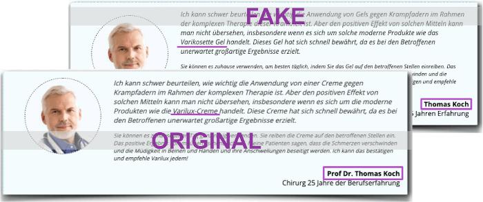 Varikosette Fake Arztbericht